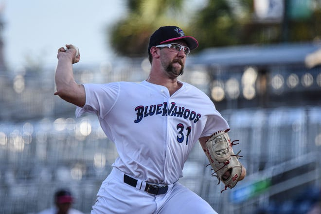 Pitcher Randy Dobnak makes a pitch during an undated photo at Blue Wahoos Stadium.