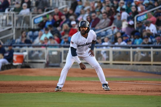 Pensacola Blue Wahoos player Jaylin Davis takes a lead during an undated game at Blue Wahos Stadium.