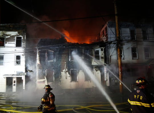 First responders on the scene of a structure fire on Duane Street in the City of Poughkeepsie on May 19, 2020.