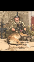 James Hines and Meghin are shown taking a break from explosive detection duty in Iraq.