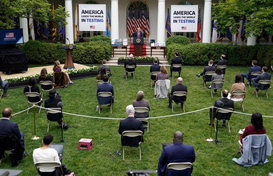 President Donald Trump speaks during a press briefing about coronavirus testing in the Rose Garden of the White House on May 11, 2020 in Washington, DC. Several White House staff members and aides have recently tested positive for the coronavirus and three top health officials from the White House coronavirus task force are now self-quarantining after potential exposure. (Photo by Drew Angerer/Getty Images/TNS)
