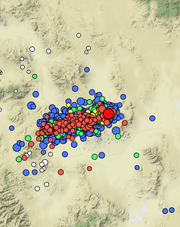 A map of all the aftershocks following a magnitude 6.5 earthquake that struck near Tonopah last Friday. The largest red dot marks a magnitude 5.0 aftershock that struck Wednesday morning.