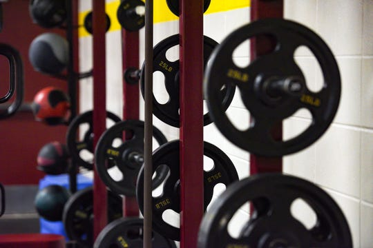 The Roosevelt High School weight room stands empty on Wednesday, May 20, in Sioux Falls.
