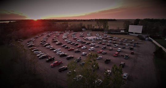 An overhead shot of cars parked at the Starlite Drive-In Theatre