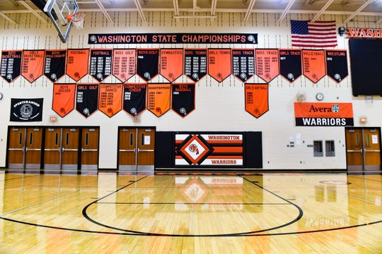 The Washington High School gymnasium stands empty on Wednesday, May 20, in Sioux Falls.
