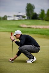 Jake Steffen lines up a putt on Wednesday, May 20, 2020 at Prairie Green Golf Course in Sioux Falls, S.D.