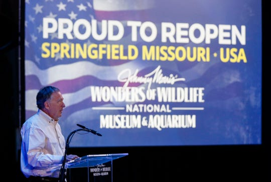 Bass Pro Shops founder Johnny Morris announces at a press conference on Wednesday, May 20, 2020, that Wonders of Wildlife National Museum and Aquarium will be opening very soon, but with a number of changes to ensure the safety of visitors and staff.
