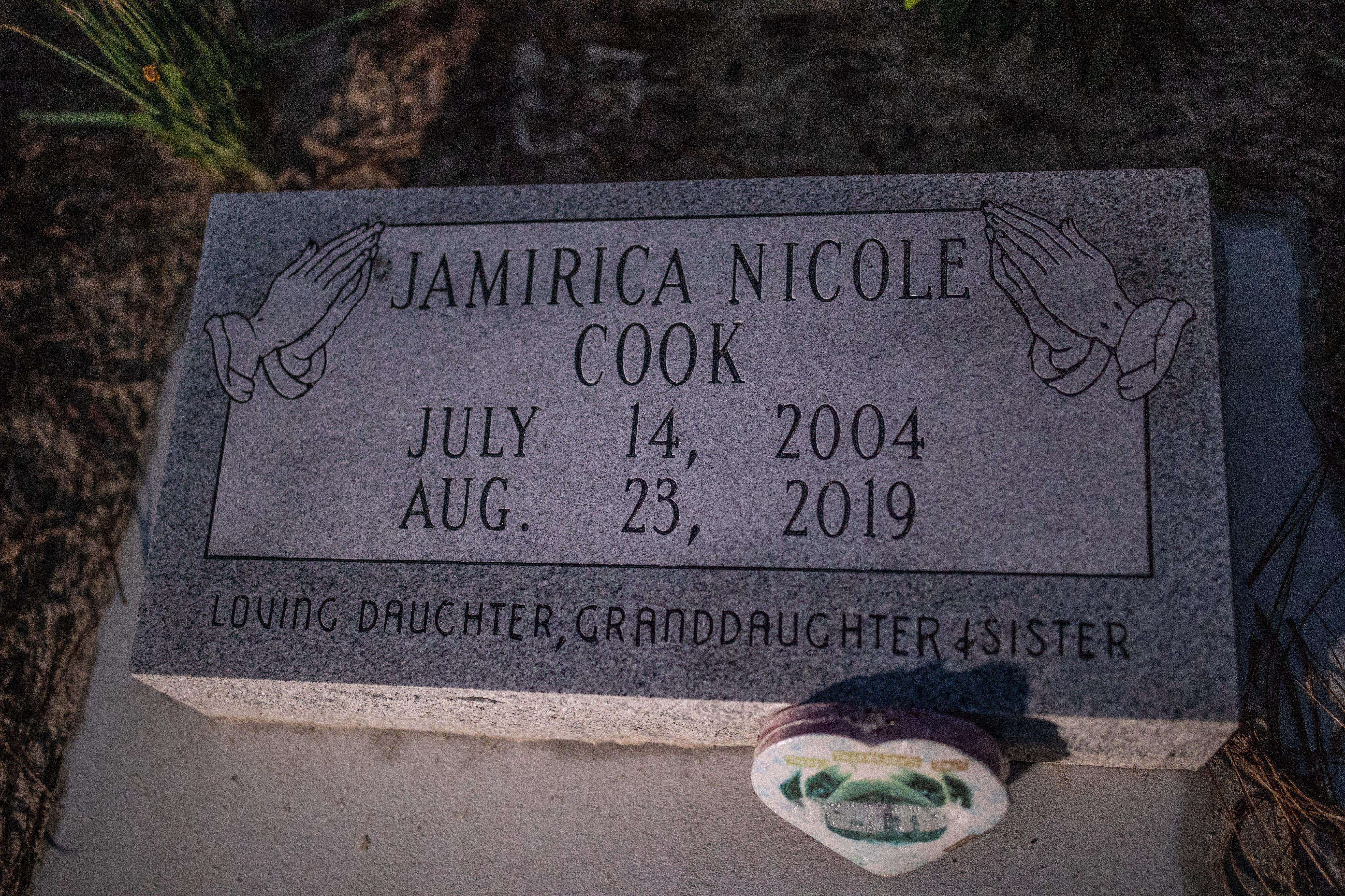 "The headstone for Jamirica ""Noonie"" Cook."