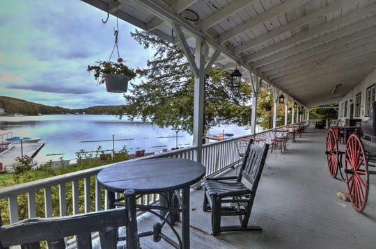 "Scott's Family Resort on Oquaga Lake was used as a setting in ""The Marvelous Mrs. Maisel."" Midge Maisel meets her future fiance, Ben, on this porch."