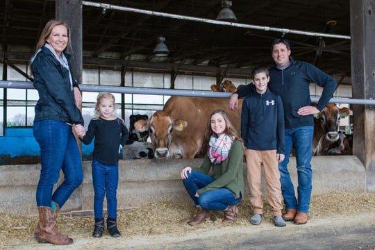Greg Knusten, a dairy farmer from Harrington, with his family.