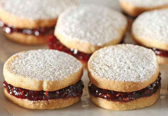 """Rosemary butter sandwich cookies with fig jam from """"Monet's Palate Cookbook: The Artist and His Kitchen Garden at Giverny,"""" by Aileen Bordman and Derek Fell. Don't eat them all at once in quarantine, dietitians advise."""