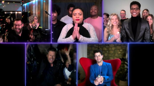 """The Voice"" remote finale, Part 2: Pictured in this screen grab: (top row l-r) Todd Tilghman, Toneisha Harris, Thunderstorm Artis; (bottom row l-r) Blake Shelton, Nick Jonas."