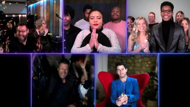 """The Voice"" remote finale, Part 2: Pictured in this screen grab: (top row l-r) Todd Tilghman, Toneisha Harris, Thunderstorm Artis; (bottom row l-r) Blake Shelton, Nick Jonas."