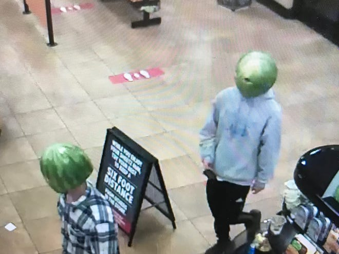 On May 6, 2020 two people arrived at the Sheetz in Louisa, Virginia wearing hollowed-out watermelon rinds with holes cut out for the eyes into the store where police say they proceeded to commit a larceny.