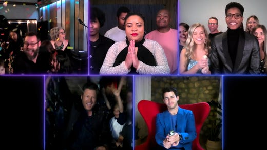 Tilghman (top left) was surrounded by his wife of 21-years and their eight children in Mississippi as host Carson Daly named him the winner.<br /> <br /> Streamers fell on Blake Shelton (bottom left), who tuned in safely from Oklahoma with his family. The country crooner got something sweeter than a trophy &ndash; a congratulatory kiss from girlfriend Gwen Stefani.<br /> <br /> Despite technical difficulties with Shelton&rsquo;s microphone, &quot;The Voice&quot; effortlessly combined 21 livestreams from around the nation into one seamless finale after the coronavirus pandemic forced the NBC singing competition to go remote over safety concerns.<br /> <br /> (Top row left-right) Toneisha Harris and Thunderstorm Artis from Tema Nick Jonas (bottom row left) rounded out the Top 3.