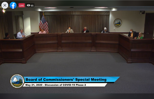 Buncombe County Board of Commissioners hold a special meeting May 21, 2020.