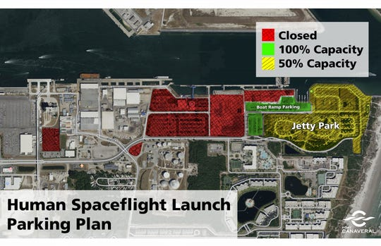 This map shows launch viewing restrictions in the Jetty Park area of Port Canaveral.