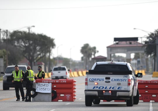 Entrances at Naval Air Station Corpus Christi in Texas are closed in response to an active-shooter threat May 21.