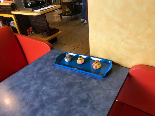 A pre-selection of ducks for customers at Sugar n' Spice. No grabbing from the bucket during the pandemic.