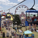 The Sky Glider floats over the Meijer Kiddieland at the Ohio State Fair in Columbus on July 27, 2019.
