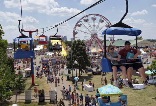 The Sky Glider floats over the Meijer Kiddieland at the Ohio State Fair in Columbus on July 27, 2019. The 2020 fair has been canceled because of concerns over the coronavirus.