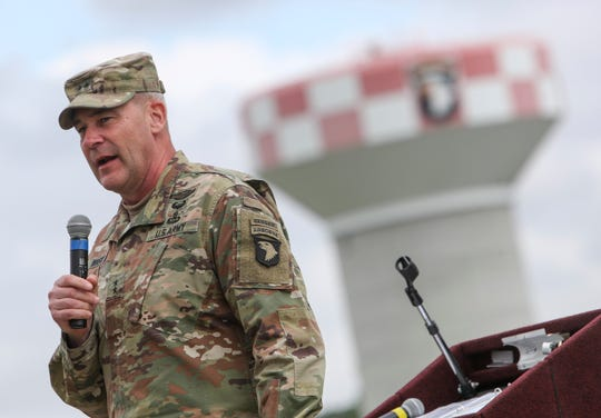 Maj. Gen. Winski makes a short speech greeting and thanking soldiers and their families during a welcome home ceremony for soldiers from the 531st Hospital Center that had been deployed to New York to help at the Division Parade Field in Fort Campbell, KY., on Thursday, May 21, 2020.