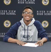 River View's DJ Marshall signed to run track for Marietta College on Wednesday.