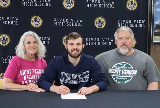 River View's Donnie Kehl (middle) signed to play lacrosse for Mount Vernon Nazarene on Wednesday.