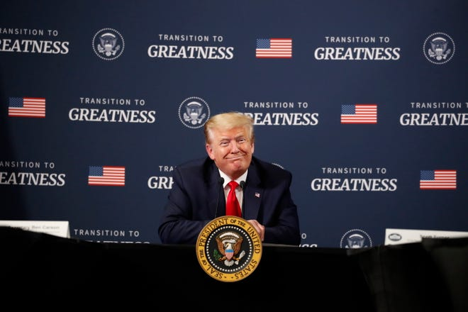 President Donald Trump speaks during a listening session with African-American leaders at Ford's Rawsonville Components Plant that has been converted to making personal protection and medical equipment, Thursday, May 21, 2020, in Ypsilanti, Mich.