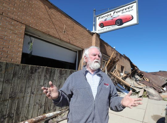 Tim Evans in front of the Fiero Forever museum he owned was devastated by flood waters along Saginaw Rd. in Sanford Michigan Thursday, May 21, 2020.  The Sanford dam that held the Tittabawassee river failed causing massive flooding destroying homes and businesses.