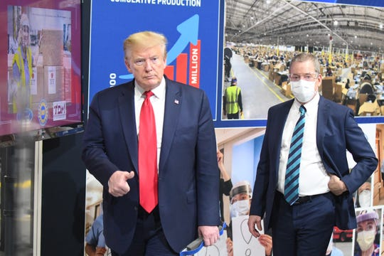 President Trump and Bill Ford Jr. tour Ford Motor Company's Rawsonville Components Plant  in Ypsilanti, Thursday.