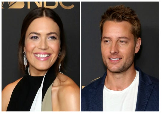 Mandy Moore, left, and Justin Hartley will co-host NBC's annual Red Nose Day special on May 21.