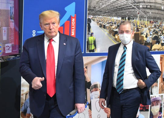President Donald J. Trump and Executive Chairman of Ford Motor Company Bill Ford Jr. during a tour of the Ford Motor Company Rawsonville Components Plant in Ypsilanti, Michigan on May 21, 2020.