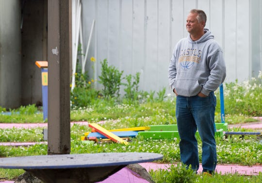 Owner Paul Dayton stares over the greens during the demolition of The Midget Links miniature golf course off East Morgan Avenue in Evansville, Ind., Wednesday afternoon, May 20, 2020. Roy and Esther Brenton opened Midget Links in 1947. They sold it to Dayton in 1998 who continued operation until the 2020 season.