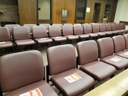 A courtroom in the Civic Center's courtroom rearranged to allow for social distancing.