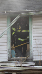 Ryan Gargas at the scene of a fire.