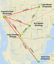 Possible locations for splash pads in Cape Coral.  Current thinking of city council members is to place parks at Lake Meade and at Joe Stonis park. Northwest Cape residents would like the park at the Tropicana Park site, the smallest in the planed Cape Coral park system.