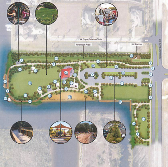 Map of latest concept map for Tropicana Park in Cape Coral.