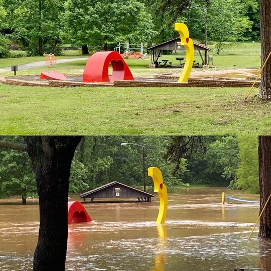 A section of the Swamp Rabbit Trail before and after Wednesday's flooding.