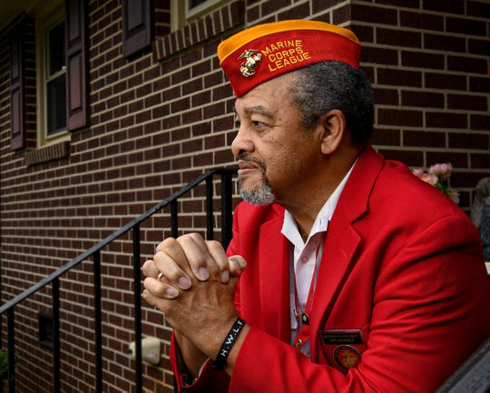 Jeremiah Palmer of Anderson, Marine Corps Lima 3/7 Vietnam Veteran and current Chaplain with the Marine Corps League Upstate Detachment 1108, at his home.