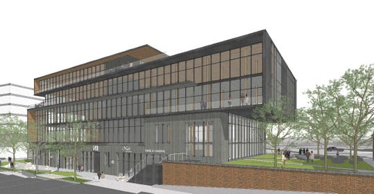 A view of the new five-story office and retail building that will join the Plush Mills campus on U.S. 123 in West Greenville.