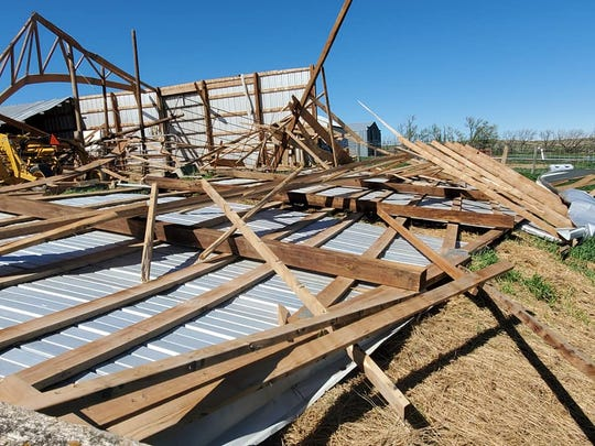 A structure collapsed after a wind storm in McCone County.