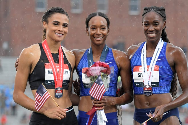 Lawrence North grad Ashley Spencer (right) finished third in the 400m hurdles at last year's USATF Championships at Drake Stadium. Dalilah Muhammad (center) won, with runner-up going to Sydney McLaughlin (left).