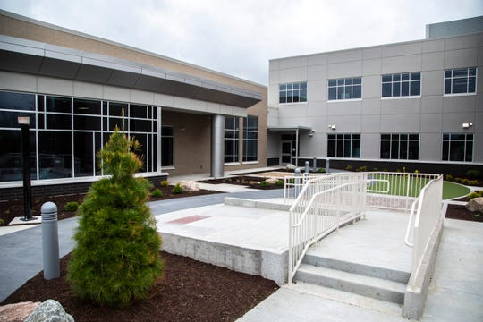 An outdoor therapy courtyard with a variety of surfaces and activities is seen during a tour of the new facility, Wednesday, May 20, 2020, at the Mercy Rehabilitation Hospital in Coralville, Iowa.