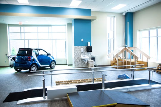 Equipment inside the rehabilitation gym is seen during a tour of the new facility, Wednesday, May 20, 2020, at the Mercy Rehabilitation Hospital in Coralville, Iowa.
