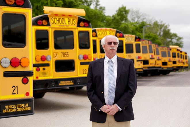 Lafayette School Corp. Superintendent Les Huddle stands for a portrait inside the School Corporation's transportation yard, Wednesday, May 20, 2020 in Lafayette.