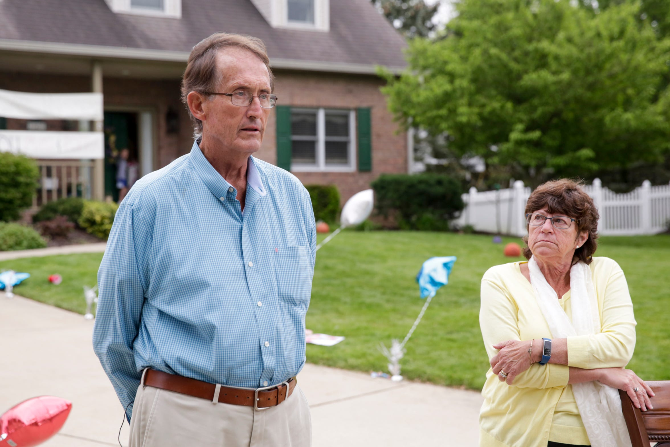 Rob Kochon, left, recounts his battle with COVID-19 while talking with members of the media with his wife, Carol, by his side, Thursday, May 21, 2020 in West Lafayette. Kochon spent 50 days in a Florida hospital, 26 on a ventilator, after contracting COVID-19.