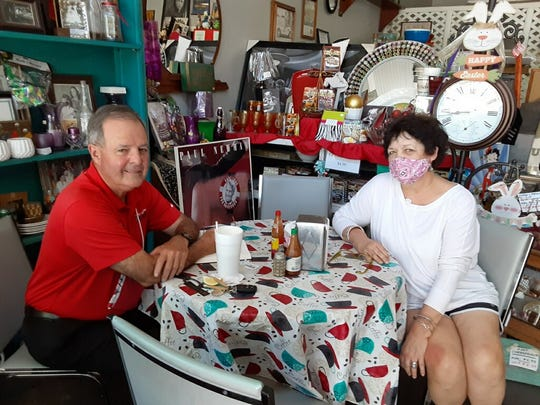 Stephen DeVille and Wanda Juneau at the Back in Time restaurant and gift shop, across from the St. Landry Parish Courthouse on West Landry Street
