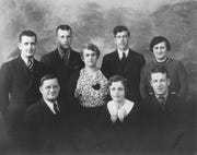 This photo of the Edward H. Snyder family includes: (front row/L to R): Edward, his daughter Kate Snyder Timberlake, and his son William (Bill) Snyder. Back Row: Edward L. (Bud) Snyder, James ( Jim) Snyder, Mrs. Edward (Bertha) Snyder, Robert (Bob) Snyder, and daughter Nita Snyder Smith.