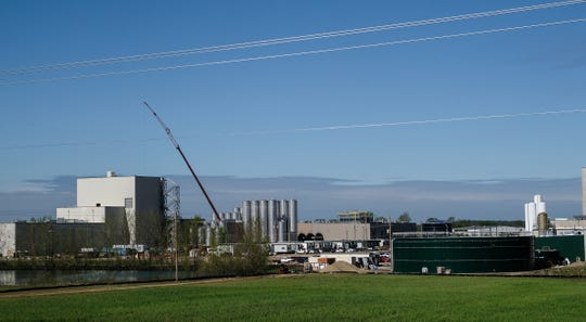 Construction continues at the Glanbia Foods dairy and cheese plant in St. Johns with an opening date of October of this year. Thursday, May 21, 2020.